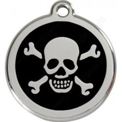 Médailles Identité Noir Onyx Pirate Tête Mort Chien ou Chat