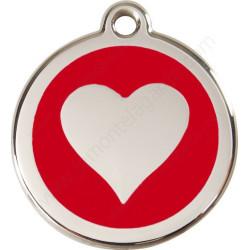 Médailles Identité Rouge Coeur Chien et Chat