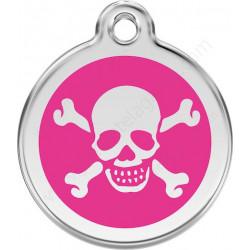Médailles Identité Pirate Crâne Rose Fuschia chien ou chat