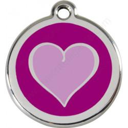Médailles Identité Coeur Bicolore Violet chien et chat