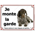 Plaque 4 Tailles LUXE Je Monte la Garde, Braque Allemand couché