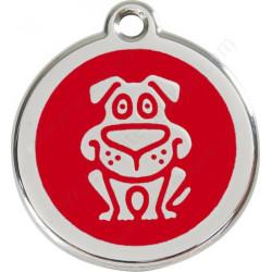 Médailles Identité Rouge Chien Rigolo
