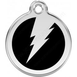 Médailles Identité Eclair Flash Noir Onyx Chien Chat