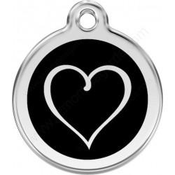 Médailles Identité Noir Coeur Trait chien Chat, avec gravure, anneau inclus