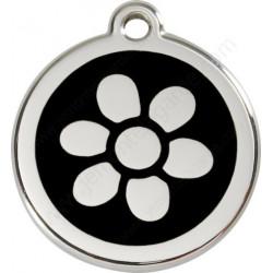 Médailles Identité Noir Fleur Chien ou Chat