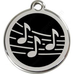 Médailles Identité Noir Notes de Musique Chien ou Chat