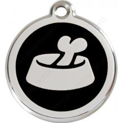 Médaille Identité Ecuelle avec Os Noir chien et chat