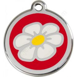 Médaille Identité Fleur Pâquerette Rouge Chien et chat
