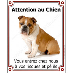 Plaque 25 cm LUXE Attention au Chien, Bulldog Anglais Fauve