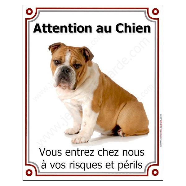 Bulldog Anglais Fauve, Plaque Portail Attention au Chien verticale, panneau pancarte affiche