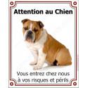 Plaque 25 cm LUXE Attention au Chien, Bulldog Anglais Fauve