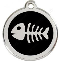 Médaille Identité Arête de Poisson noir Chien ou Chat