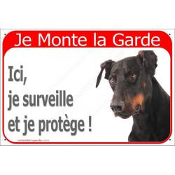 """Dobermann Tête plaque portail rouge """"Je Monte la Garde"""" 2 Tailles"""