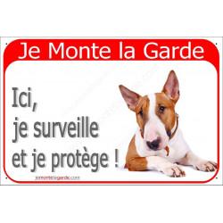 Plaques 2 tailles RED, Je Monte la Garde, Bull Terrier Fauve Tête