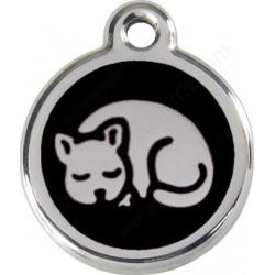 Médailles Identité Chat qui dort noir