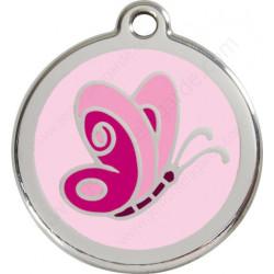 Médailles Identité Papillon Rose Layette pour Chiens et Chats