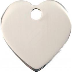 Médailles Identité en forme de cœur Chromé pour Chiens Chats - 2 Couleurs