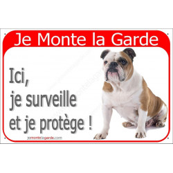 Plaque 24 cm RED, Je Monte la Garde, Bulldog Anglais Assis