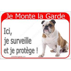 Plaque 2 Tailles RED, Je Monte la Garde, Bulldog Anglais Assis
