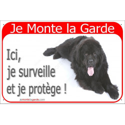 """Terre Neuve Noir Couché, plaque rouge """"Je Monte la Garde""""  2 Tailles RED A"""