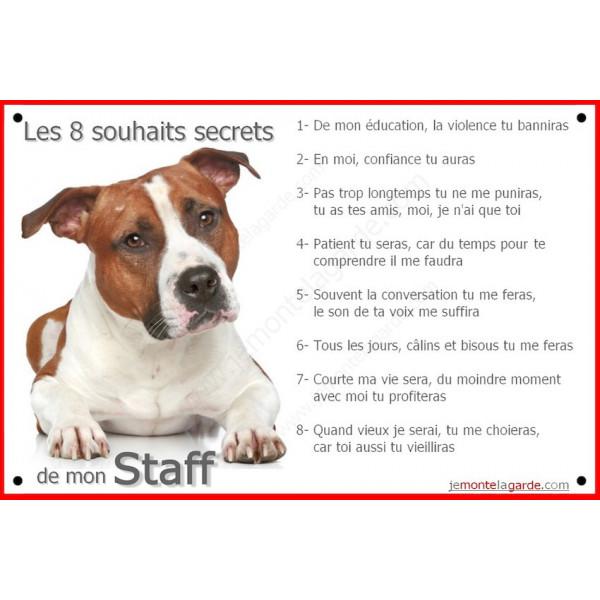 Plaque 24 cm CDT, 8 Souhaits Secrets, Am-Staff Fauve Couché