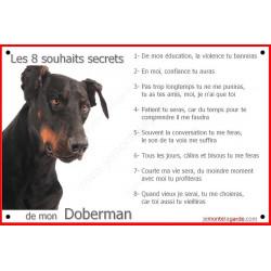 Doberman Tête, Plaque Portail Les 8 Souhaits Secrets, commandements éducation pancarte panneau