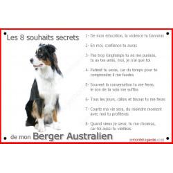 Berger Australien Tricolore Noir Assis, Plaque Portail Les 8 Souhaits Secrets, affiche panneau, commandements éducation