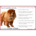 """Chow-Chow Fauve, plaque """"Les 8 Souhaits Secrets"""" 24 cm CDT"""