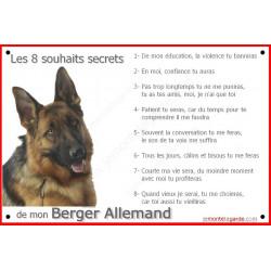 """Berger Allemand Tête, plaque photo """"Les 8 Souhaits Secrets"""" affiche idée cadeau commandement éducation panneau pancarte"""