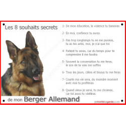 Plaque 24 cm CDT, 8 Souhaits Secrets, Berger Allemand Tête