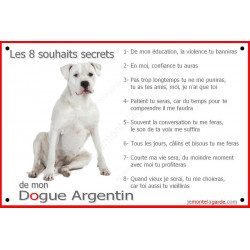"Dogue Argentin Assis, plaque""Les 8 Souhaits Secrets""  24 cm CDT"