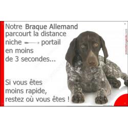 """Braque Allemand couché, plaque humour """"distance Niche - Portail"""" 24 cm 3SEC"""
