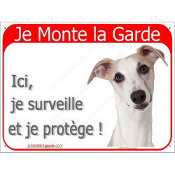 Plaque portailo rouge 2 Tailles, Je Monte la Garde, Lévrier Whippet Tête, pancarte attention au chien surveille et protège panne