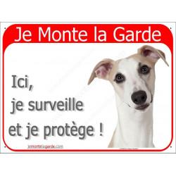"""Whippet fauve Tête, plaque rouge """"Je Monte la Garde"""" 2 Tailles RED A"""