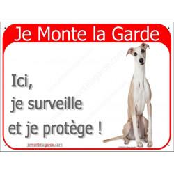 Plaque 2 Tailles RED, Je Monte la Garde, Lévrier Whippet Assis