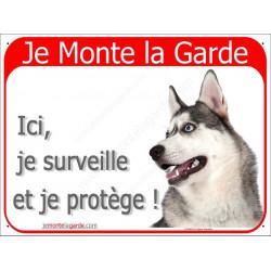 "Husky Gris Tête, plaque rouge ""Je Monte la Garde"" 16 cm RED"