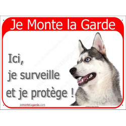 Husky, Plaque Portail rouge horizontale, affiche panneau, tête Je Monte la Garde, ici, je surveille et je protège !