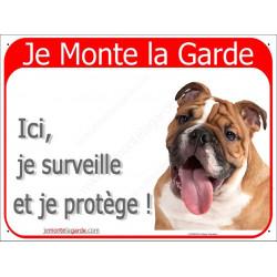 Plaque 2 Tailles RED, Je Monte la Garde, Bulldog Anglais Fauve Tête
