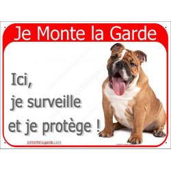 Plaque 2 Tailles RED, Je Monte la Garde, Bulldog Anglais Fauve Assis