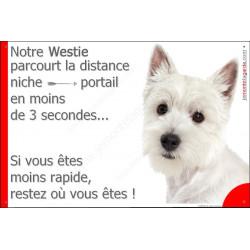 Plaque 24 cm 3SEC, Distance Niche - Portail, Westie Tête