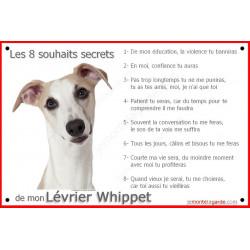 Plaque Les 8 Souhaits Secrets, Lévrier Whippet Tête Whippet Tête, pancarte commandements éducation Attention au Chien