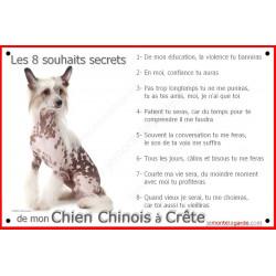 Plaque, 8 Souhaits Secrets, Chien Chinois à Crête Tête photo attention au chien commandements règles