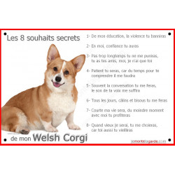 Plaque 24 cm CDT, 8 Souhaits Secrets, Welsh Corgi Assis