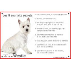 Plaque 24 cm CDT, 8 Souhaits Secrets, Westie Assis