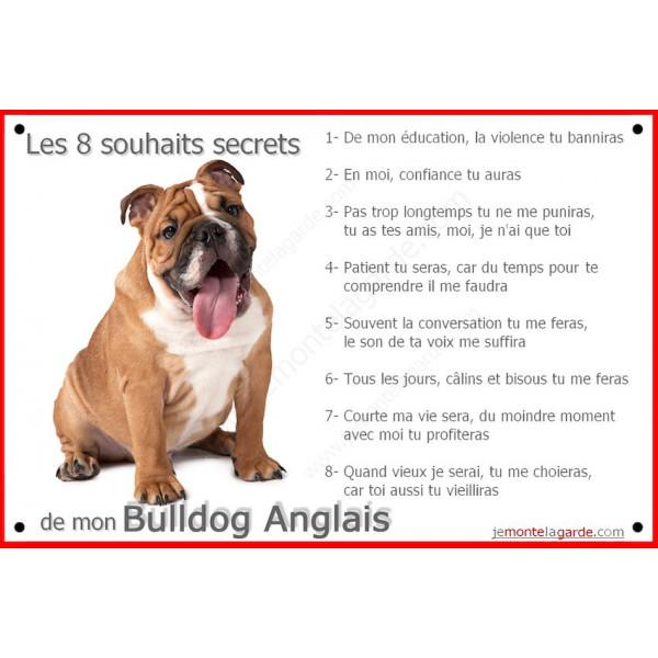 Plaque 24 cm CDT, 8 Souhaits Secrets, Bulldog Anglais Tête