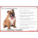 Plaque 24 cm CDT, 8 Souhaits Secrets, Bulldog Anglais Assis