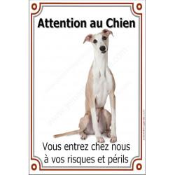 Plaque 24 cm LUXE, Attention au Chien, Lévrier Whippet Assis