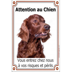 Plaque 24 cm LUXE, Attention au Chien, Samoyède Tête