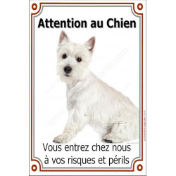 Plaque 24 cm LUXE, Attention au Chien, Westie assis