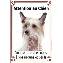 """Chien Chinois à Crête Tête, plaque """"Attention au Chien"""" 24 cm VLUX"""